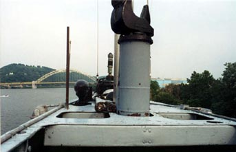 On the bridge, looking aft