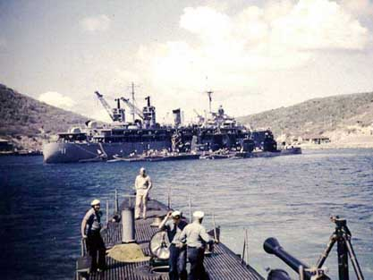 REQUIN pulling into St. Thomas, VI in 1952